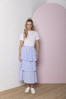 Tiered Stripe Skirt - Marine Blue Stripe