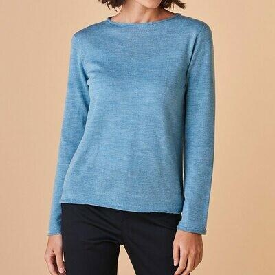 Phoebe Top - Sea - 100% Merino Wool