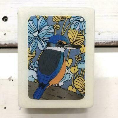 Mini Woodblock - Sacred Kingfisher