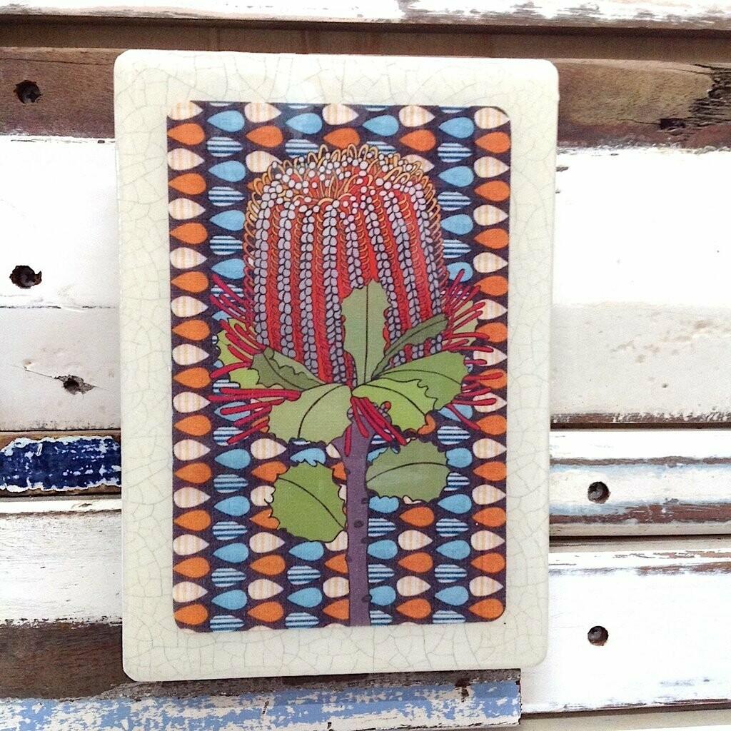 Medi Woodblock - Banksia Coccinea