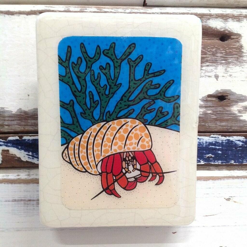 Mini Woodblock - Hermit Crab