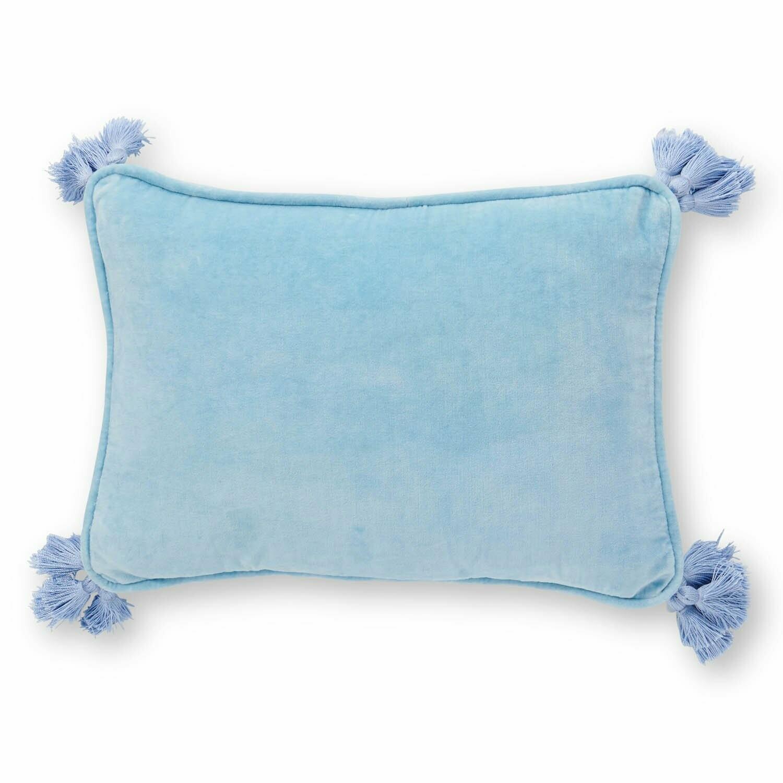 Velvet Souk Cushion - Crystal Blue