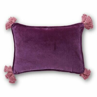 Velvet Souk Cushion - Eggplant