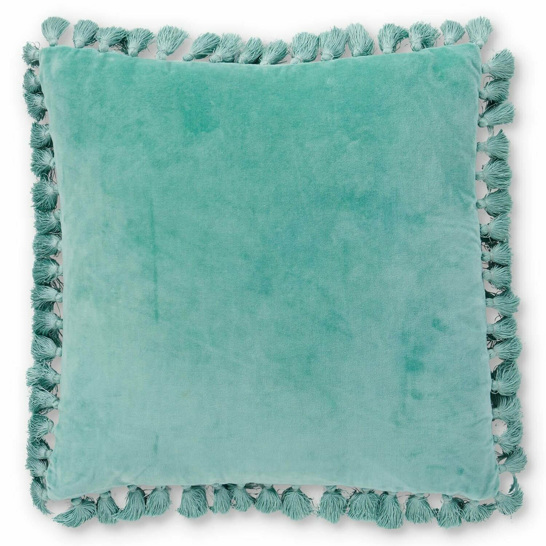 Velvet Tassel Cushion - Wasabi