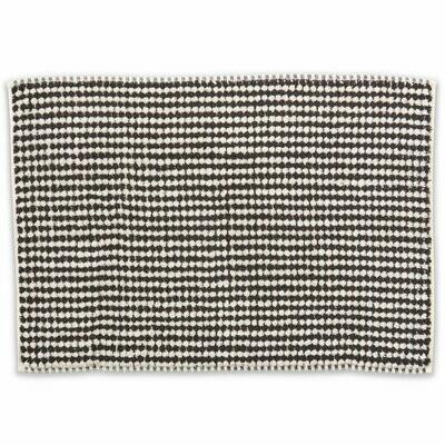 Turkish Towels - Bath Mat - Black & White Pebbles
