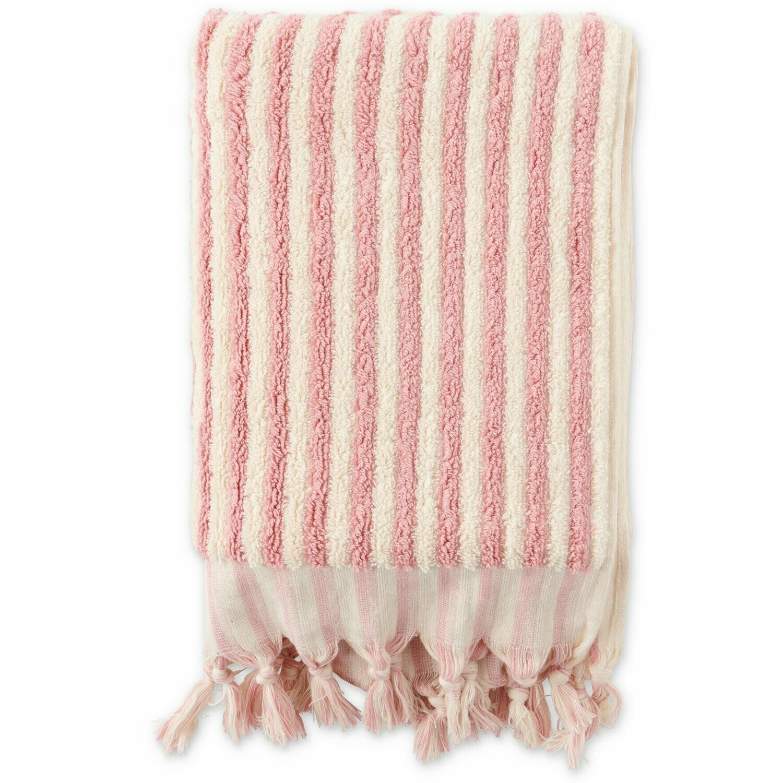 Turkish Towels - Bath Towel - Rose & White Stripe