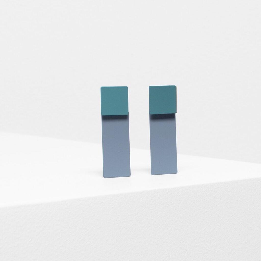 Tage Earrings - Green/Gray