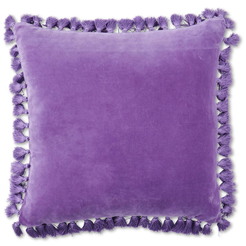 Velvet Tassel Cushion - Amethyst