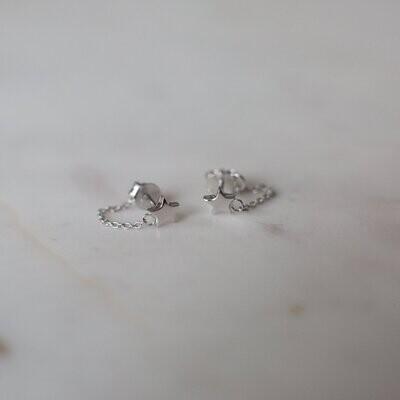 Twinkle Chain Stud Earrings - Sterling Silver