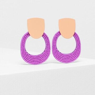 Seed Bead Double Shape Earrings - Orange/Pink