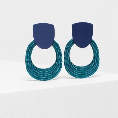 Seed Bead Double Shape Earrings - Navy/Green
