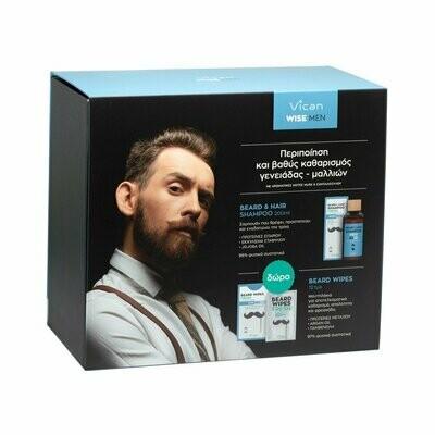 Vican Wise Men - Beard + Hair Shampoo Fresh 200ml pr(+Beard Wipes Fresh 12 Tεμ Δωρο)