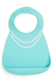 Makemyday Σαλιάρα σιλικόνης - Tiffany Blue W/Pearls