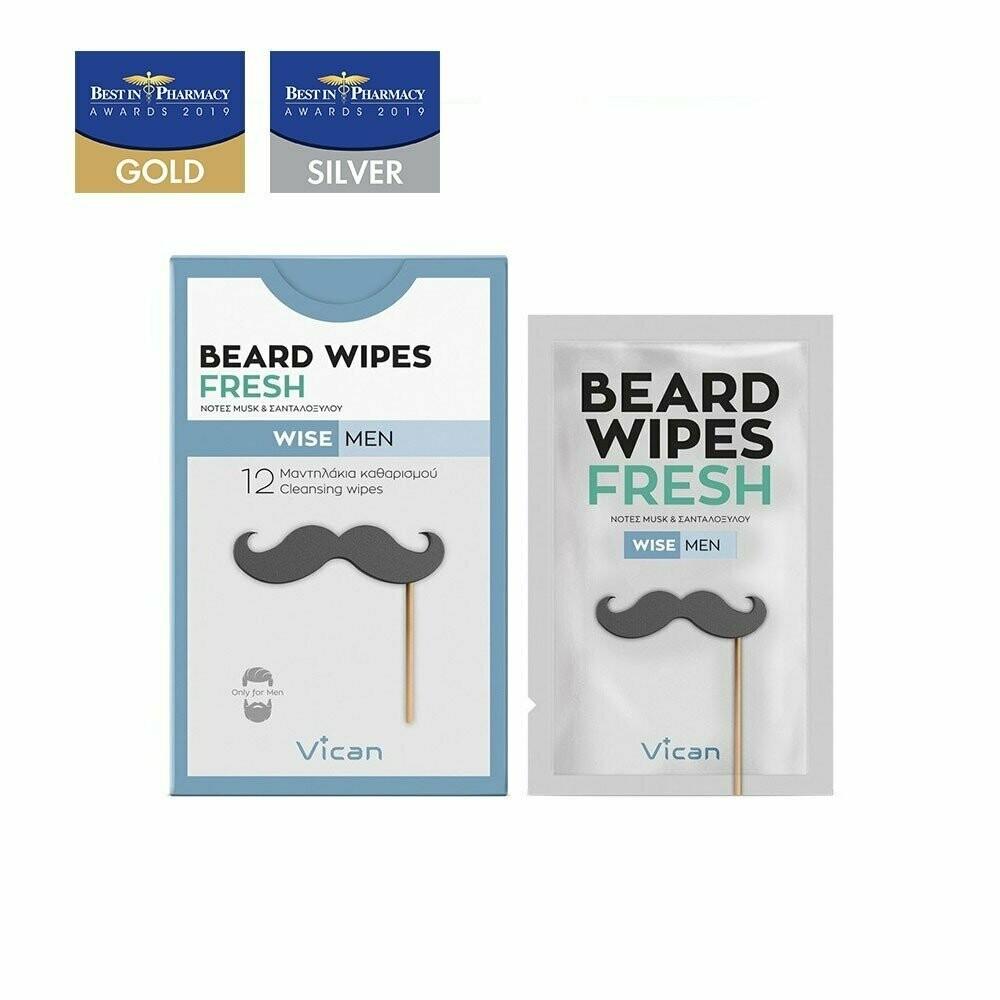 Vican Wise Men - Beard Wipes Fresh (12 Τεμ.)