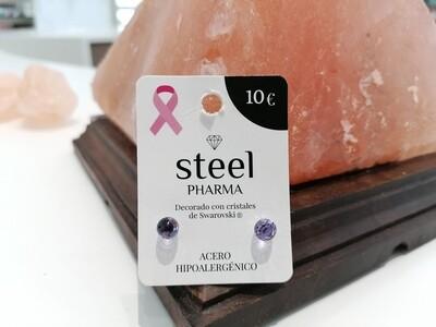 Steel Pharma Swarovski Earings Esfera Violet