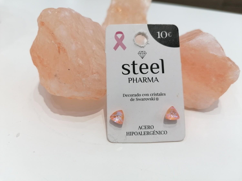 Steel Pharma Swarovski Earings Triangle Peach