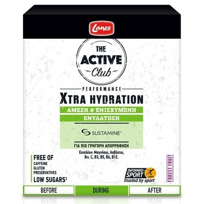 Lanes The Active Club Xtra Hydration 2x σωληνάριο με 10 αναβράζουσες ταμπλέτες