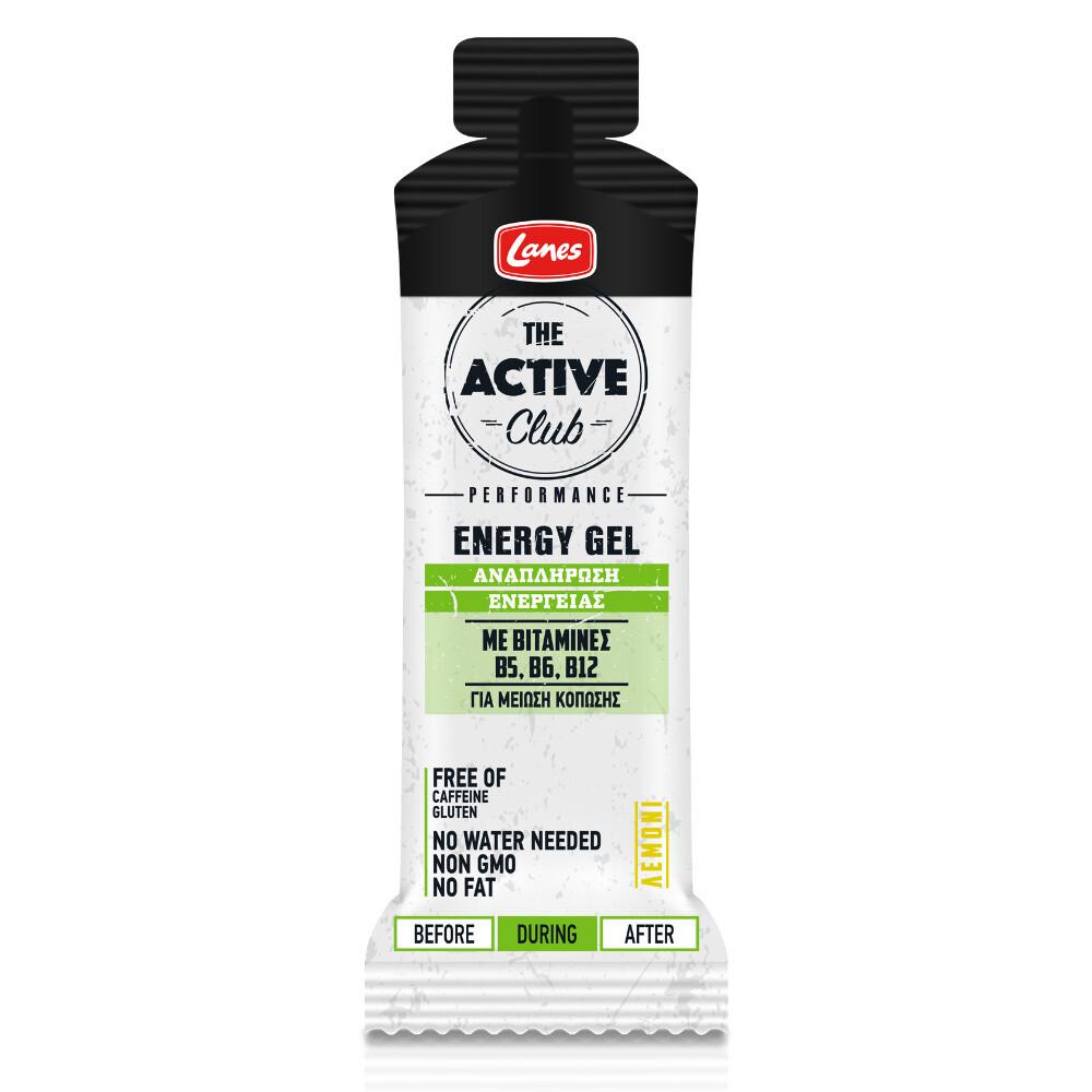 Lanes The Active Club Energy Gel Αναπλήρωσης Ενέργειας 55ml (Γεύση Λεμόνι)
