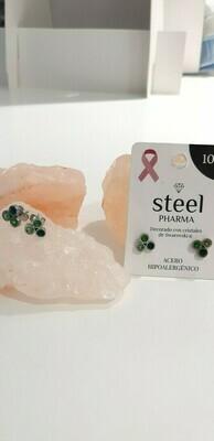 Steel Pharma Swarovski Earings Gina Green