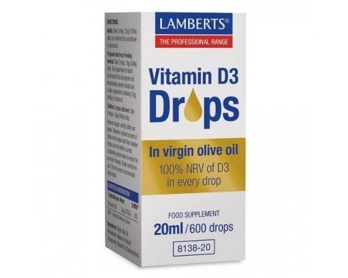 Lamberts Vitamin D3 Drops in Virgin Olive Oil 20ml