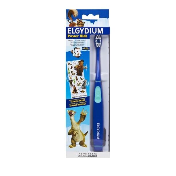Elgydium Power Kids Ice Age Toothbrush Blue Ηλεκτρική Οδοντόβουρτσα Για Παιδιά, 1 τμχ