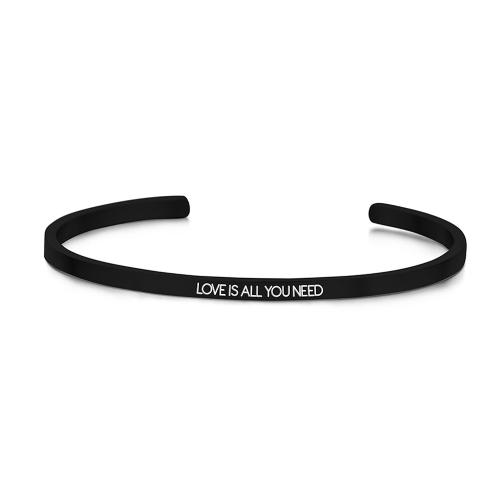 Key Moments Stainless Steel Open Bangle 3MM Love Is All You Need