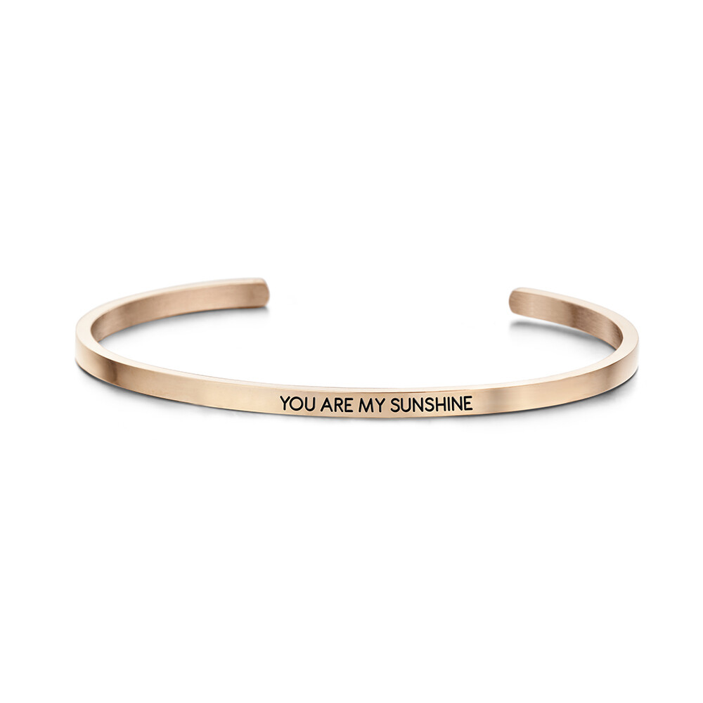Key Moments Stainless Steel Open Bangle 3MM You Are My Sunshine
