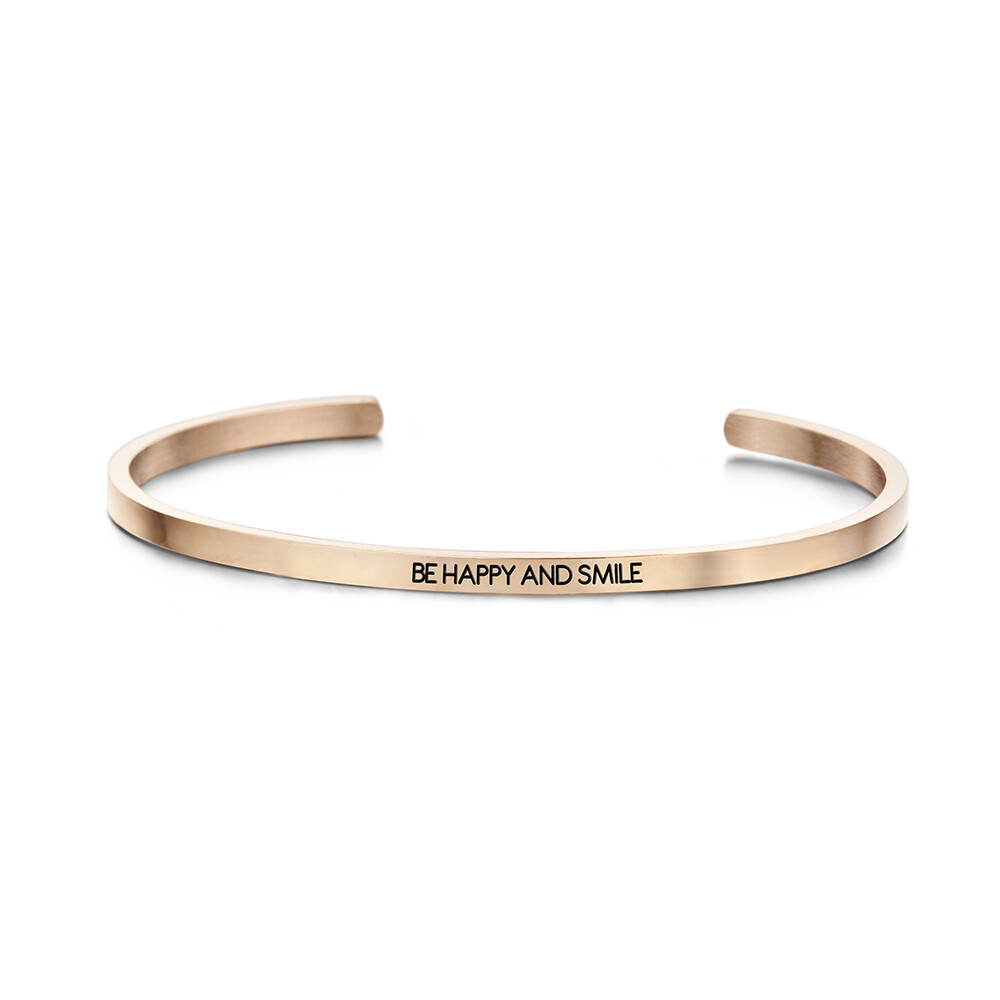 Key Moments Stainless Steel Open Bangle 3MM Be Happy And Smile