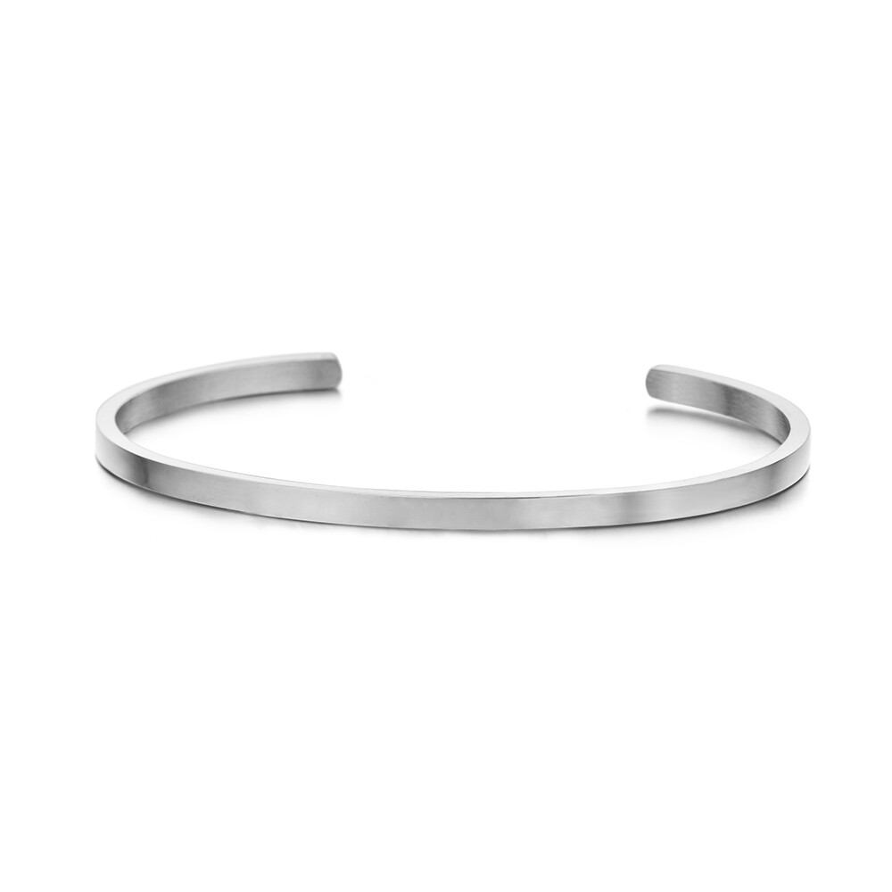 Key Moments Stainless Steel Open Bangle 3MM Blanco