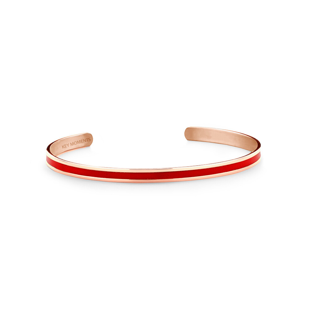 Key Moments Stainless Steel Open Bangle 4MM Red