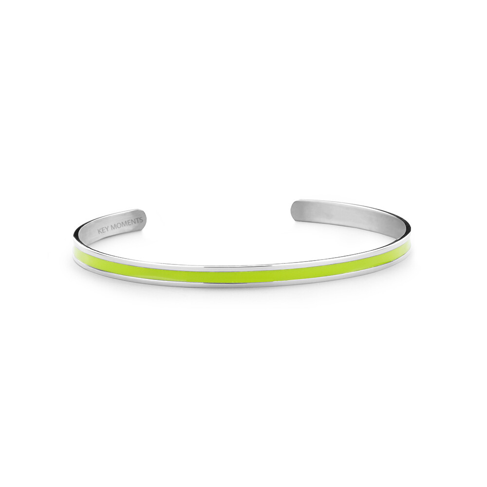 Key Moments Stainless Steel Open Bangle 4MM Green