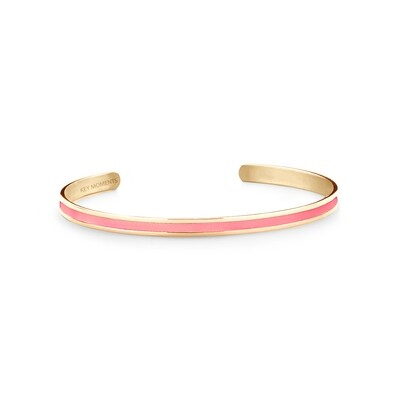 Key Moments Stainless Steel Open Bangle 4MM Pink
