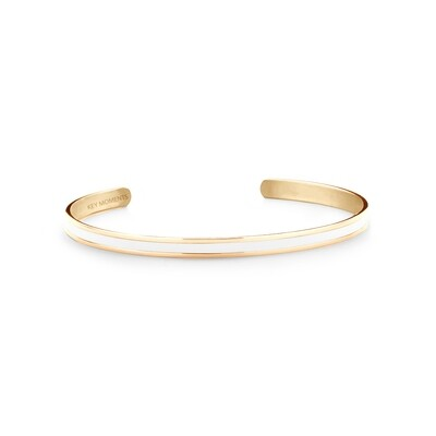 Key Moments Stainless Steel Open Bangle 4MM White