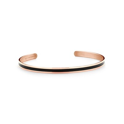 Key Moments Stainless Steel Open Bangle 4MM Black