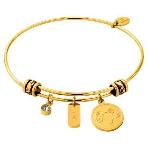 Natalie Gersa Steel Bracelet With Zodiac Aries