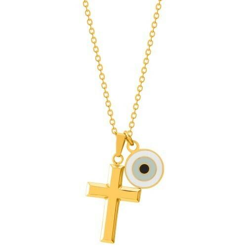 Natalie Gersa Steel Necklace Cross & Eye Charms