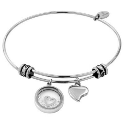 Natalie Gersa Steel Bracelet Pendants Two Hearts