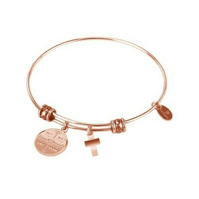 Natalie Gersa Steel Bangle Engraved Double Sided Charm And Cross