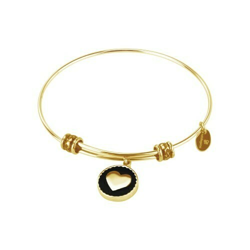 Natalie Gersa Steel Bracelet With Heart Enamel Black
