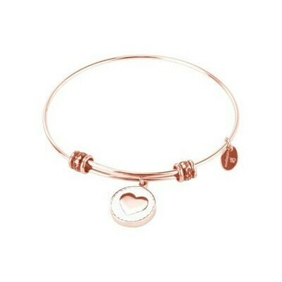 Natali Gersa Steel Bracelet With Heart Enamel White