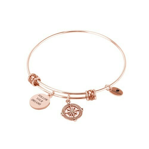 Natalie Gersa Steel Bangle Follow Your Dreams with compass charm