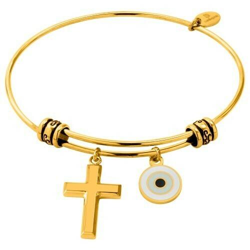 Natalie Gersa Steel Bracelet With Cross & Eye Charms