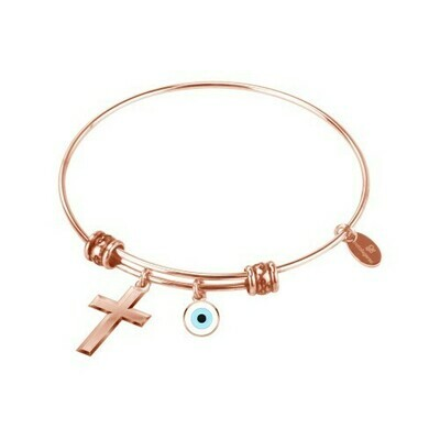 Natalie Gersa Steel Bracelet With Cross & Eye Charms