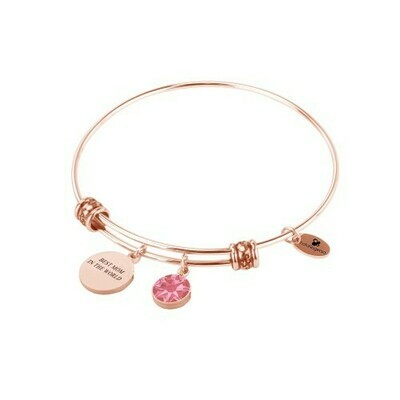 Natalie Gersa Steel Bangle Best Mom In The World with pink Swarovski