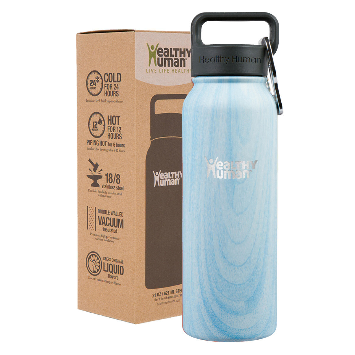 Healthy Human- Stein Bottle Blue Wood 621ml