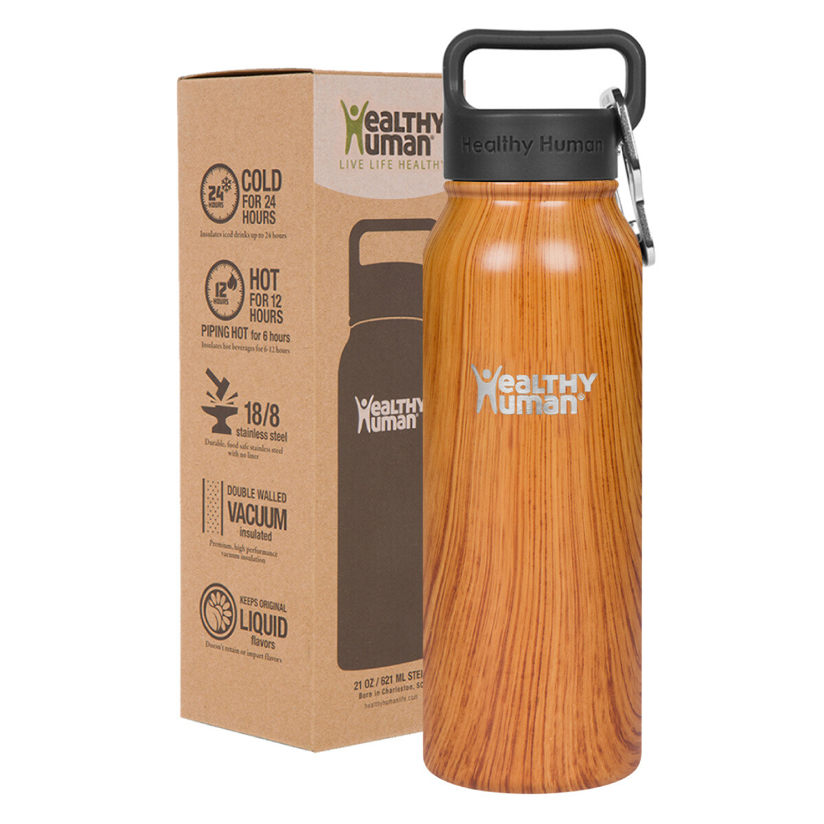 Healthy Human- Stein Bottle Natural Wood 621ml