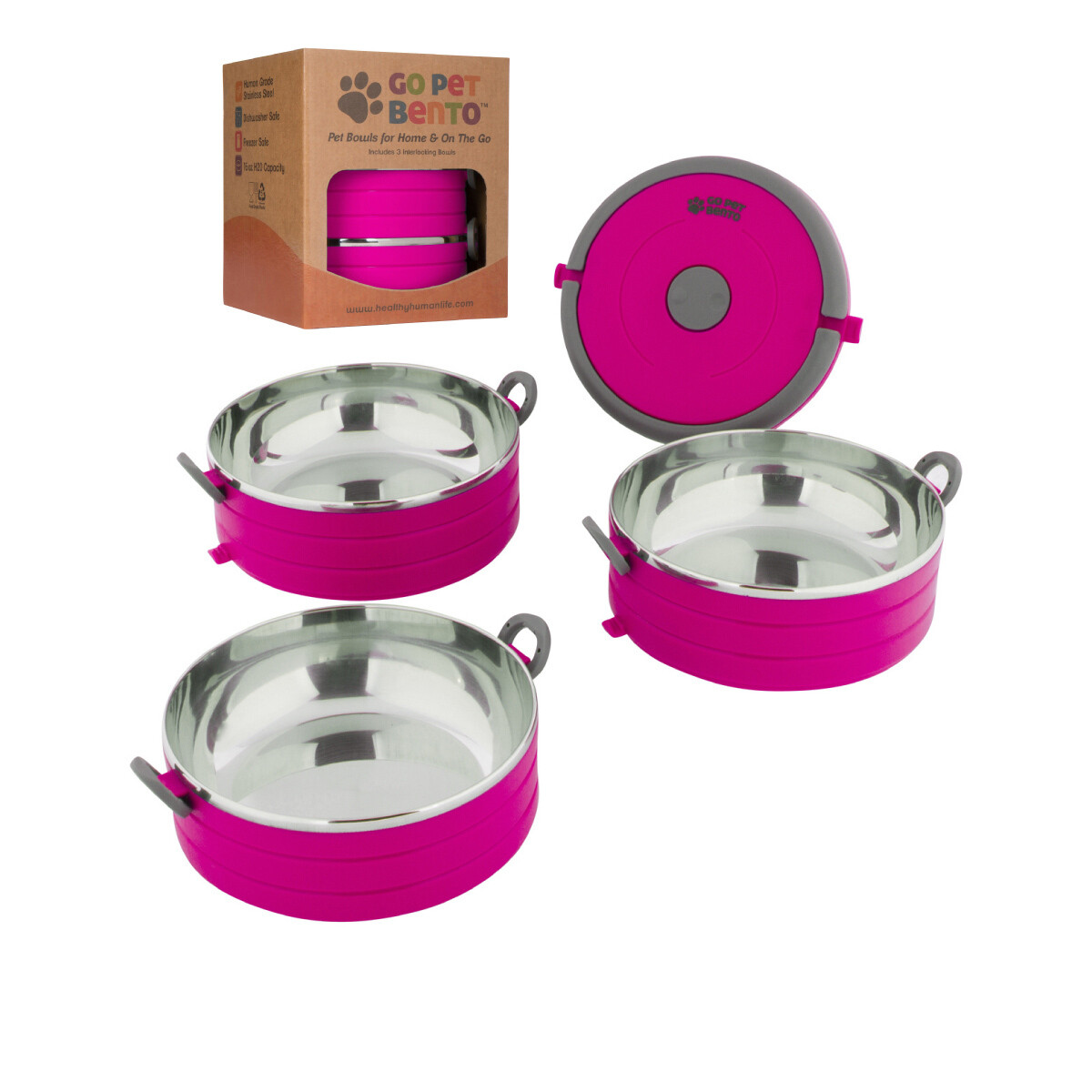 Travel Pet Bento 3 Bowls Pink
