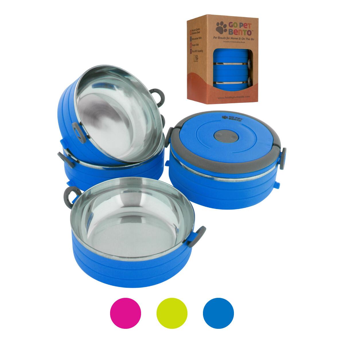 Travel Pet Bento 3 Bowls Blue