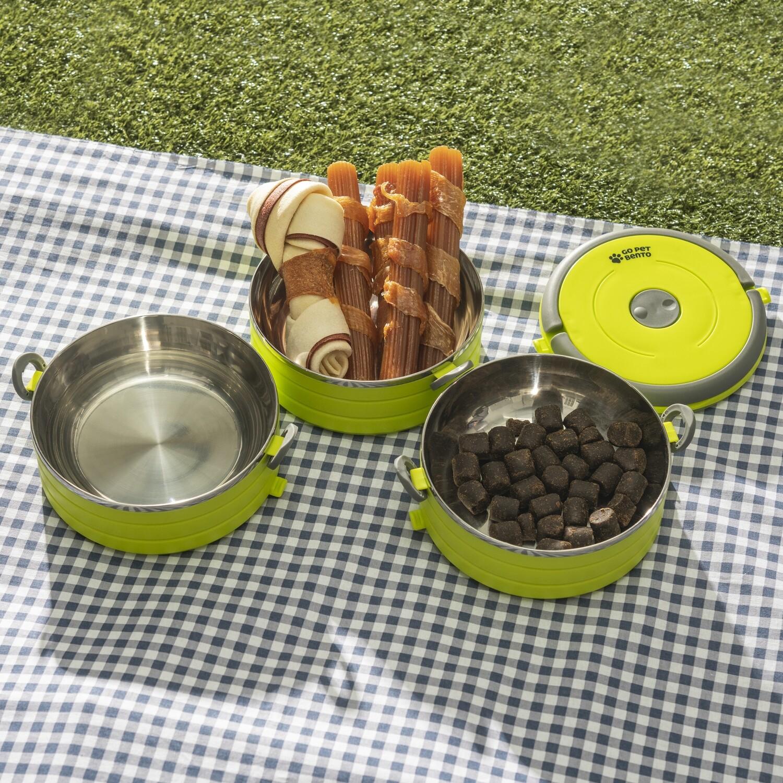 Travel Pet Bento 2 Bowls Green