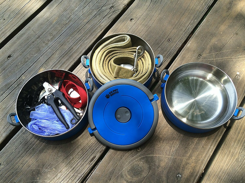 Travel Pet Bento 2 Bowls Blue